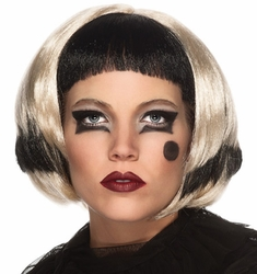 Lady Gaga Black Blonde adult short wig