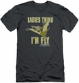 Land Before Time slim-fit t-shirt I'm Fly mens charcoal