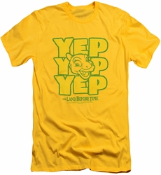 Land Before Time slim-fit t-shirt Yep Yep Yep mens yellow
