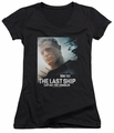 Last Ship juniors sheer v-neck t-shirt Captain black