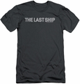 Last Ship slim-fit t-shirt Distressed Logo mens charcoal