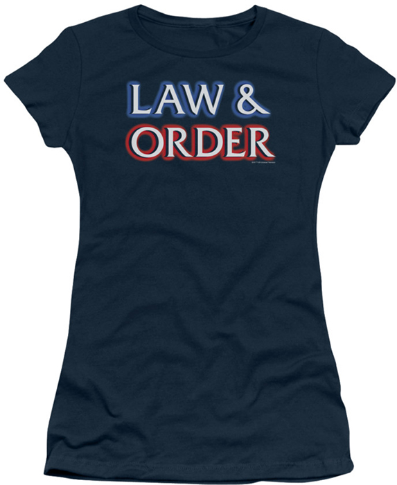 Law order juniors t shirt logo navy for Order shirts with logo