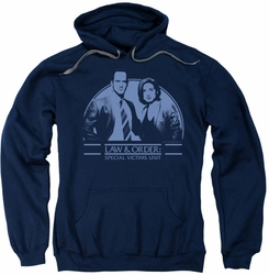 Law & Order SVU pull-over hoodie Elliot & Olivia adult navy