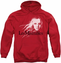 Les Miserables pull-over hoodie Textured Logo adult red