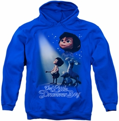 Little Drummer Boy pull-over hoodie White Light adult royal blue
