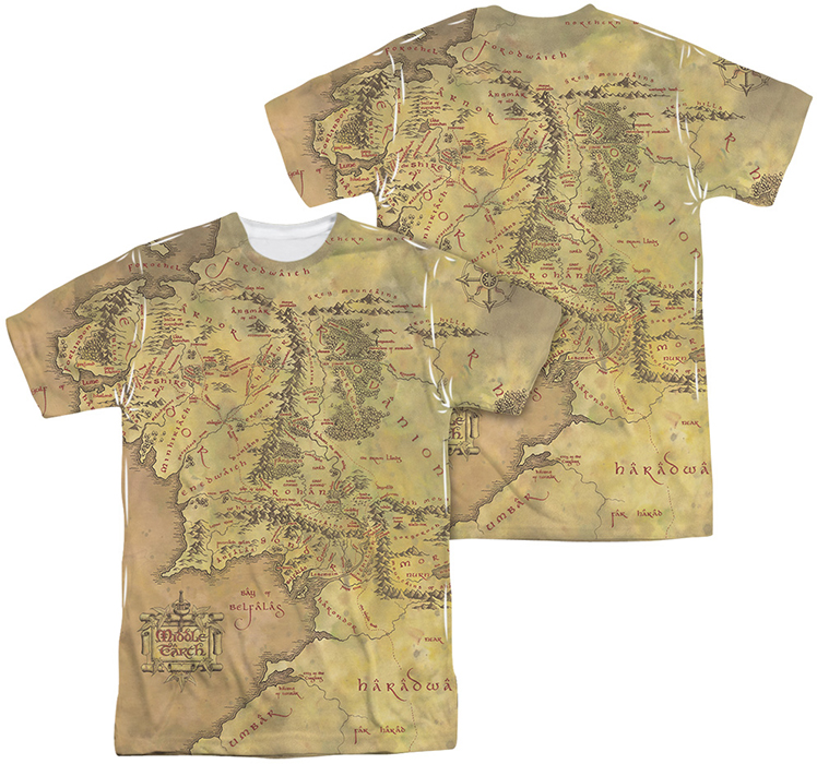 Lord of the Rings mens full sublimation tshirt Middle Earth Map