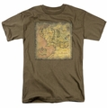 Lord of the Rings Middle Earth Map mens t-shirt safari green