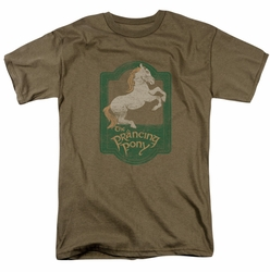 Lord of the Rings Prancing Pony mens t-shirt safari green