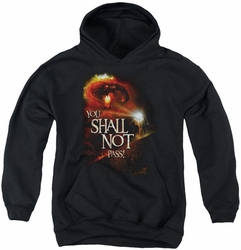 Lord of the Rings youth teen hoodie You Shall Not Pass black
