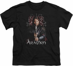Lord of the Rings youth teen t-shirt Aragorn Black
