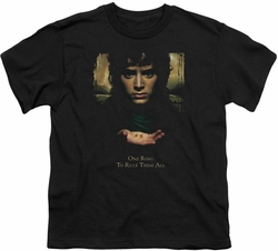 Lord of the Rings youth teen t-shirt Frodo One Ring Black