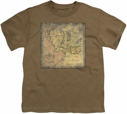 Lord of the Rings youth teen t-shirt Middle Earth Map Safari Green