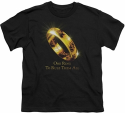 Lord of the Rings youth teen t-shirt One Ring Black