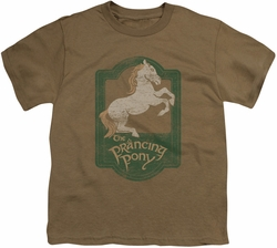 Lord of the Rings youth teen t-shirt Prancing Pony Sign Safari Green