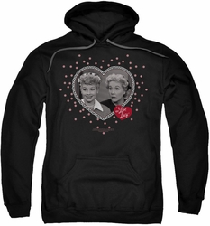 Lucille Ball Lucy pull-over hoodie Hearts And Dots adult black