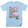 Lucille Ball Lucy t-shirt Better With Chocolate mens light blue