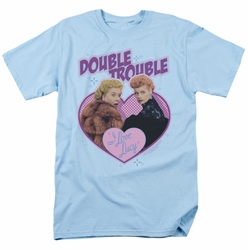 Lucille Ball Lucy t-shirt Double Trouble mens light blue