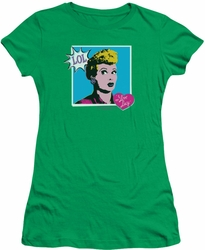 Lucy Lucille Ball juniors t-shirt I Love Worhol LOL kelly green
