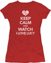 Lucy Lucille Ball juniors t-shirt Keep Calm And Watch red
