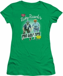 Lucy Lucille Ball juniors t-shirt Pro Golf Tips kelly green