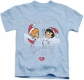 Lucy Lucille Ball kids t-shirt Animated Christmas light blue