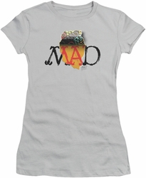 Mad juniors t-shirt Torn Logo silver