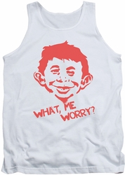 Mad tank top What Me Worry mens white