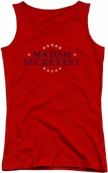 Madam Secretary juniors tank top Distress Logo red