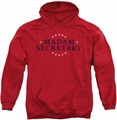 Madam Secretary pull-over hoodie Distress Logo adult red