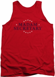 Madam Secretary tank top Distress Logo mens red