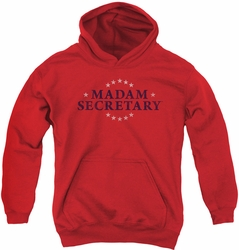Madam Secretary youth teen hoodie Distress Logo red
