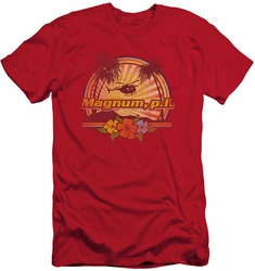 Magnum Pi slim-fit t-shirt Hawaiian Sunset mens red