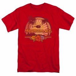 Magnum Pi t-shirt Hawaiian Sunset mens red