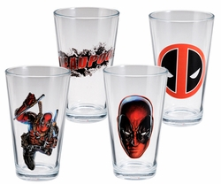 Marvel Deadpool 4 pc. 16 oz. Glass Set