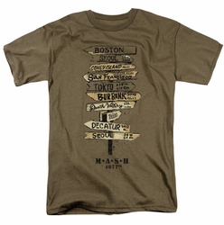 MASH t-shirt Signs mens safari green