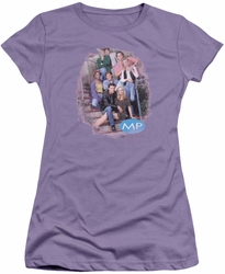 Melrose Place juniors t-shirt Original Cast Distressed lavendar