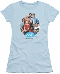 Melrose Place juniors t-shirt Season 1 Original Cast light blue