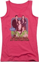 Melrose Place juniors tank top No One Is Innocent hot pink