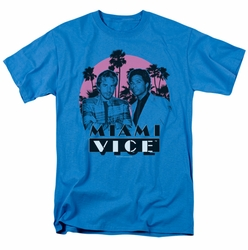 Miami Vice t-shirt Don't do anything stupid mens turquoise