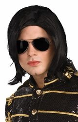 Michael Jackson long straight wig with glasses