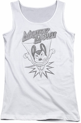 Mighty Mouse juniors tank top Bursting Out white