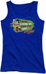Mighty Mouse juniors tank top Here I Come royal