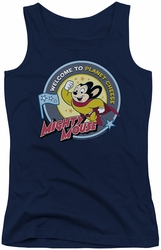 Mighty Mouse juniors tank top Planet Cheese navy