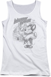 Mighty Mouse juniors tank top Protect And Serve white