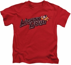 Mighty Mouse kids t-shirt Might Logo red