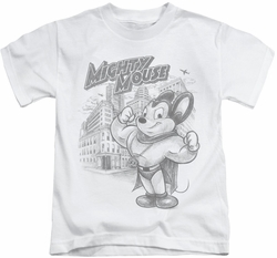 Mighty Mouse kids t-shirt Protect And Serve white