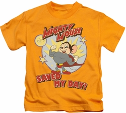 Mighty Mouse kids t-shirt Vintage Day gold
