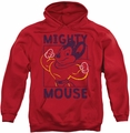 Mighty Mouse pull-over hoodie Break The Box adult red