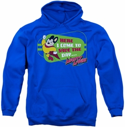 Mighty Mouse pull-over hoodie Here I Come adult royal blue