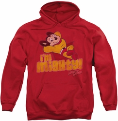 Mighty Mouse pull-over hoodie I'm Mighty adult red